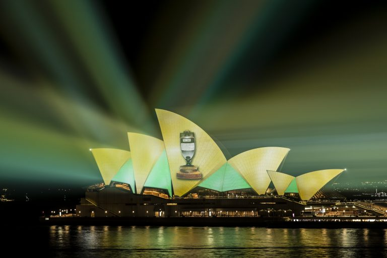 Ashes Celebrations Projected on the Sydney Opera House